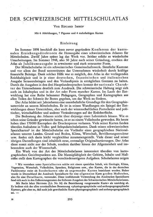 Der Schweizerische Mittelschulatlas : Vo... by Imhof, E.