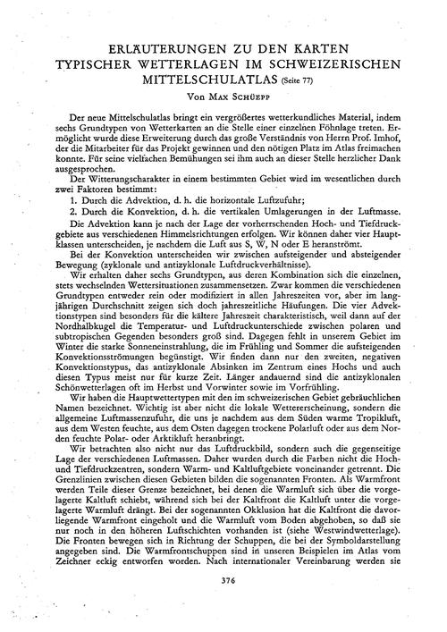 Erläuterungen Zu Den Karten Typischer We... by Schüepp, M.