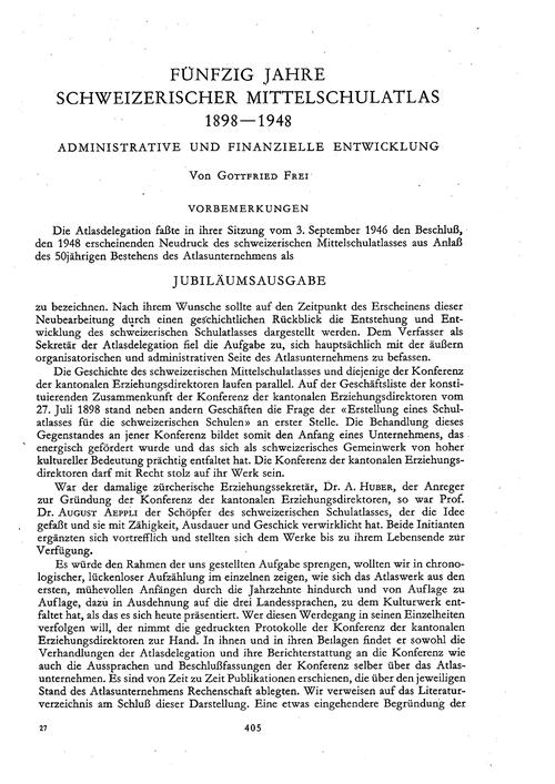 Fünfzig Jahre Schweizerischer Mittelschu... by Frei, G.