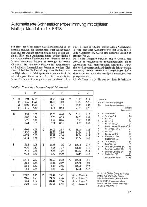 Automatisierte Schneeflächenbestimmung M... by Gfeller, R.