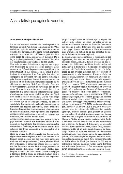 Atlas Statistique Agricole Vaudois : Vol... by Paillard, E. L.