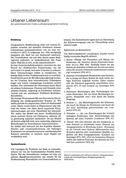 Urbaner Lebensraum : Ein Systemtheoretis... by Laschinger, W.
