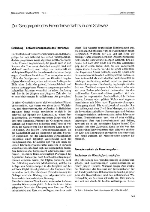 Zur Geographie Des Fremdenverkehrs in De... by Schwabe, E.