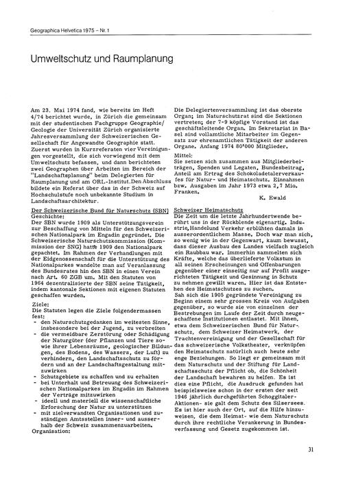 Umweltschutz Und Raumplanung : Volume 30... by Ewald, K.