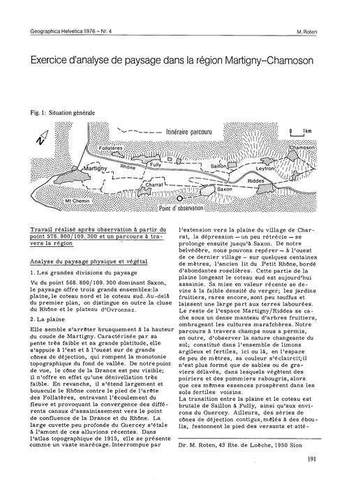 Exercice D'Analyse De Paysage Dans La Ré... by Roten, M.