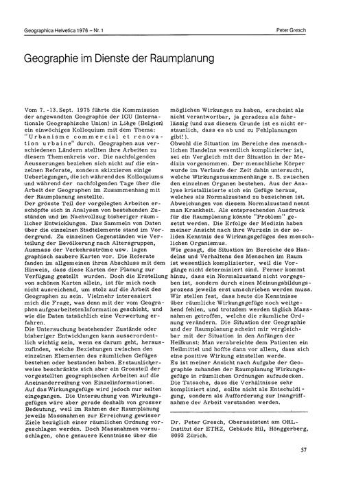 Geographie Im Dienste Der Raumplanung : ... by Gresch, P.