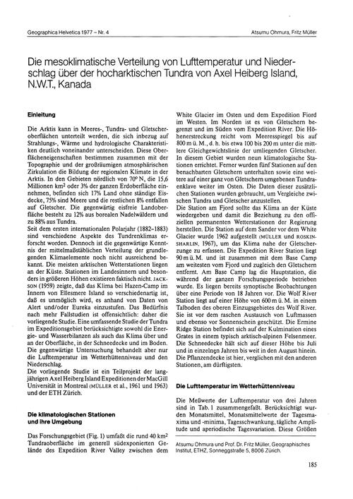 Die Mesoklimatische Verteilung Von Luftt... by Ohmura, A.