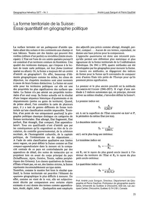 La Forme Territoriale De La Suisse : Ess... by Sanguin, A.