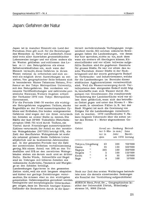 Japan : Gefahren Der Natur : Volume 32, ... by Boesch, H.