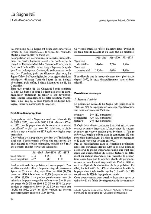La Sagne NE : Étude Démo-économique : Vo... by Rychner, J.