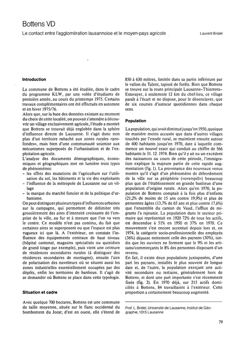 Bottens Vd : Le Contact Entre L'Agglomér... by Bridel, L.
