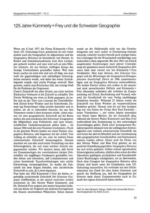 125 Jahre Kümmerly+frey Und Die Schweize... by Boesch, H.