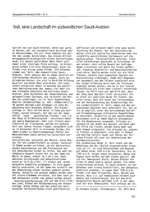 'Asîr, Eine Landschaft Im Südwestlichen ... by Escher, H.