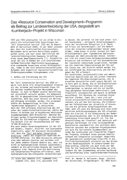 Das Resource Conservation and Developmen... by Gallusser, W. A.