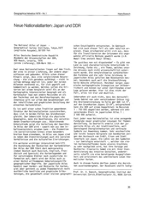 Neue Nationalatlanten : Japan Und Ddr : ... by Boesch, H.