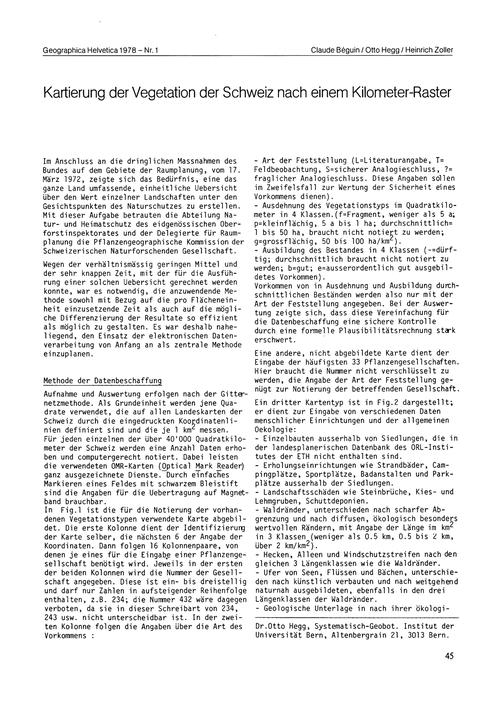 Kartierung Der Vegetation Der Schweiz Na... by Béguin, C.