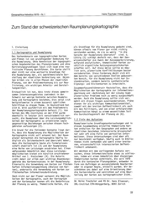 Zum Stand Der Schweizerischen Raumplanun... by Trachsler, H.