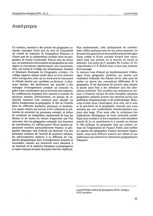 Avant-propos : Volume 33, Issue 2 (30/11... by Bridel, L.