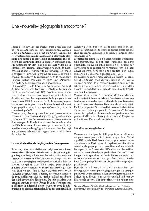 Une Nouvelle Géographie Francophone? : V... by Nicolas-obadia, G.