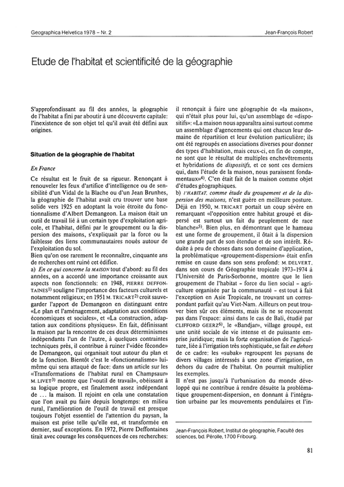 Etude De L'Habitat Et Scientificité De L... by Robert, J.