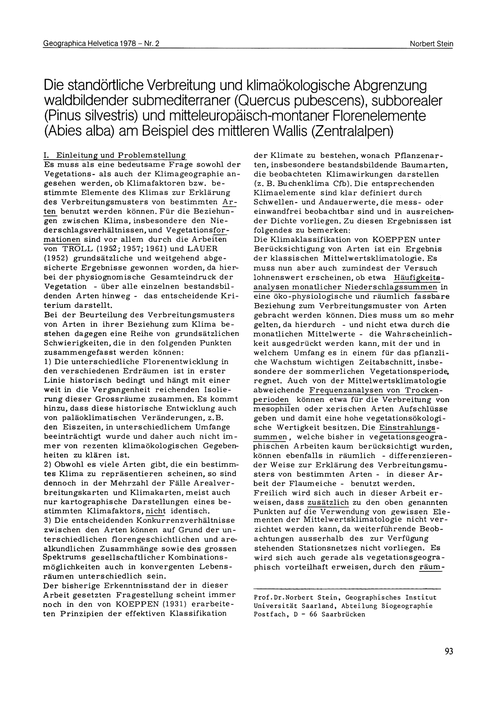 Die Standörtliche Verbreitung Und Klimaö... by Stein, N.