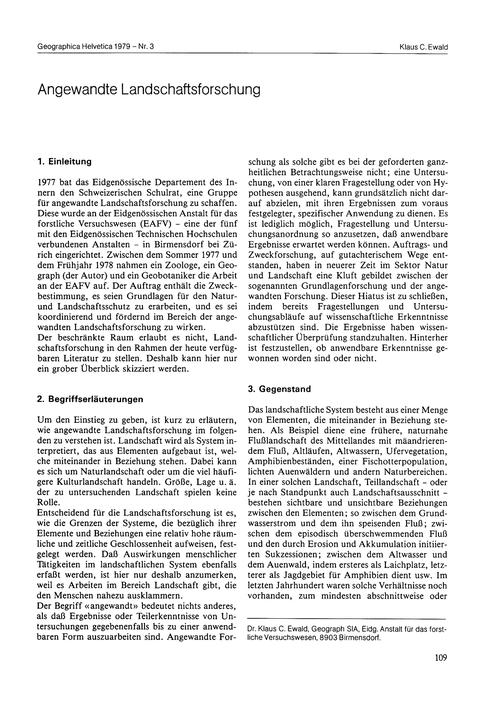 Angewandte Landschaftsforschung : Volume... by Ewald, K. C.