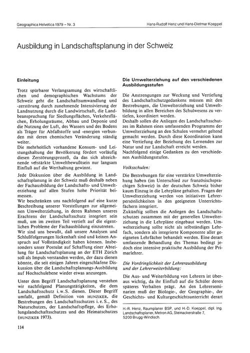 Ausbildung in Landschaftsplanung in Der ... by Henz, H.