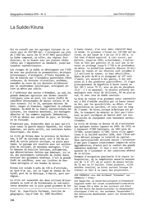La Suède/Kiruna : Volume 34, Issue 3 (30... by Portmann, J.