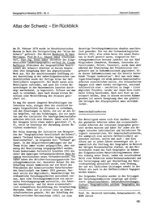 Atlas Der Schweiz : Ein Rückblick : Volu... by Gutersohn, H.