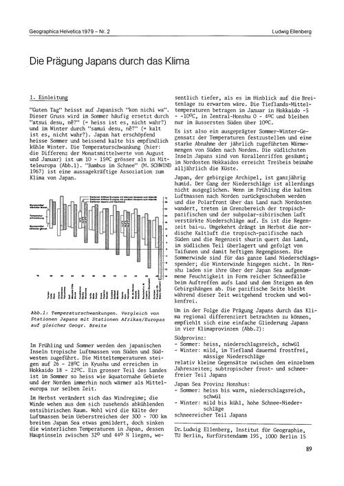 Die Prägung Japans Durch Das Klima : Vol... by Ellenberg, L.