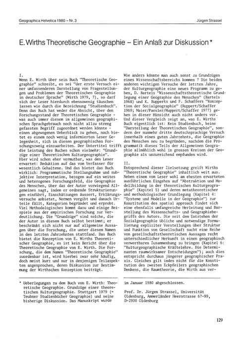 E. Wirths Theoretische Geographie : Ein ... by Strassel, J.