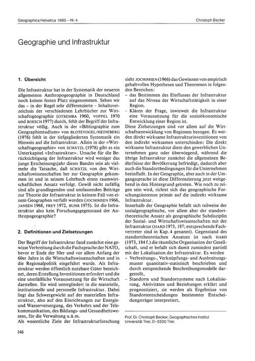 Geographie Und Infrastruktur : Volume 35... by Becker, C.