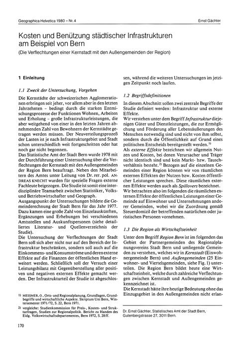 Kosten Und Benützung Städtischer Infrast... by Gächter, E.