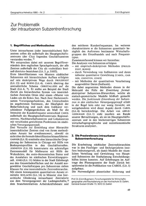 Zur Problematik Der Intraurbanen Subzent... by Bugmann, E.