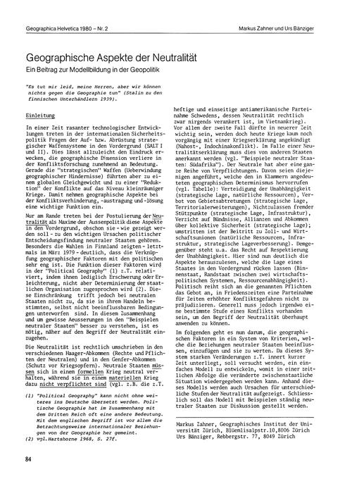 Geographische Aspekte Der Neutralität : ... by Zahner, M.