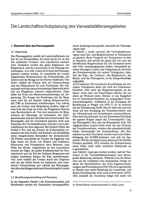 Die Landschaftsschutzplanung Des Vierwal... by Martin, R.