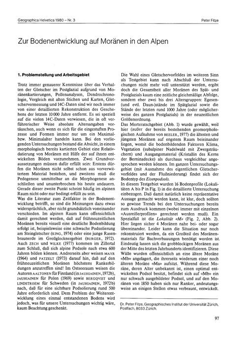 Zur Bodenentwicklung Auf Moränen in Den ... by Fitze, P.