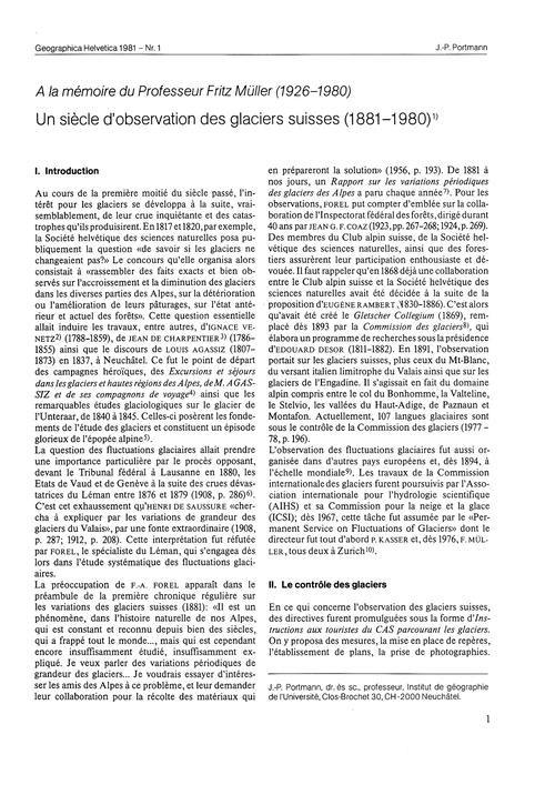 Un Siècle D'Observation Des Glaciers Sui... by Portmann, J.-p.