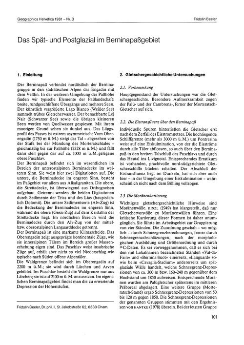 Das Spät- Und Postglazial Im Berninapass... by Beeler, F.