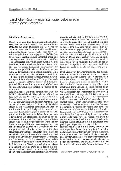 Ländlicher Raum : Eigenständiger Lebensr... by Essmann, H.