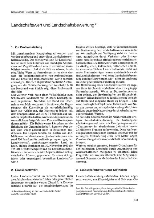 Landschaftswert Und Landschaftsbewertung... by Bugmann, E.