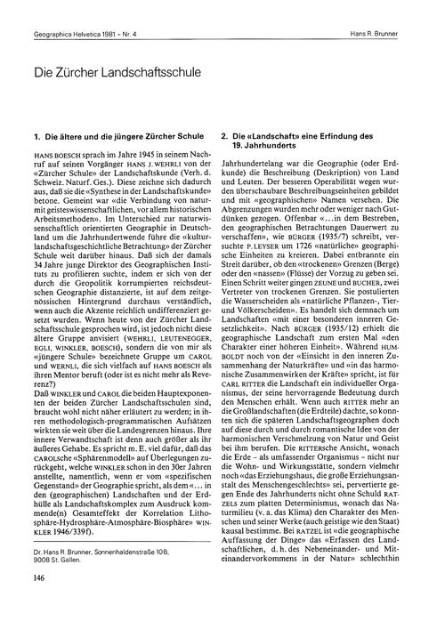Die Zürcher Landschaftsschule : Volume 3... by Brunner, H. R.