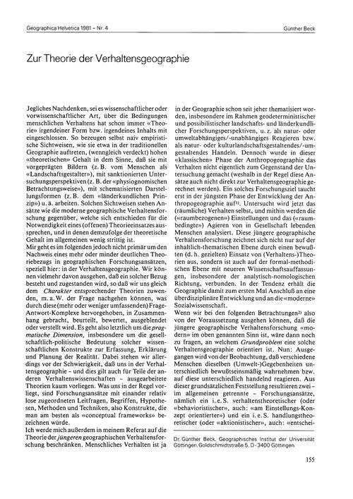Zur Theorie Der Verhaltensgeographie : V... by Beck, G.