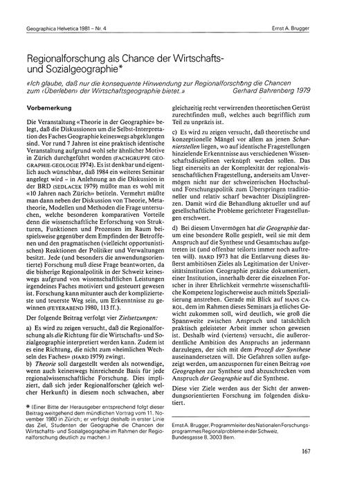 Rerionalforschung Als Chance Der Wirtsch... by Brugger, E. A.