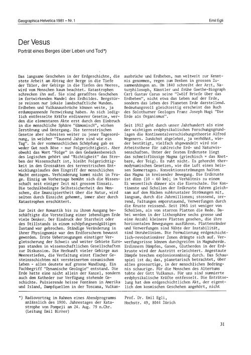 Der Vesus [i.E. Vesuv] : Porträt Eines B... by Egli, E.