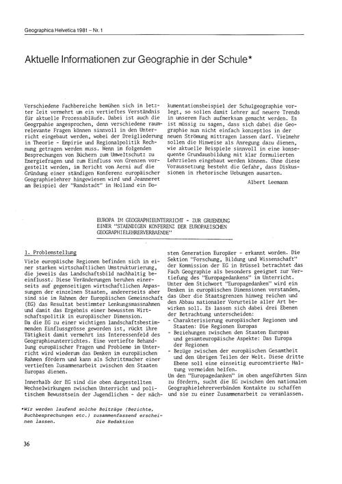 Aktuelle Informationen Zur Geographie in... by Leemann, A.