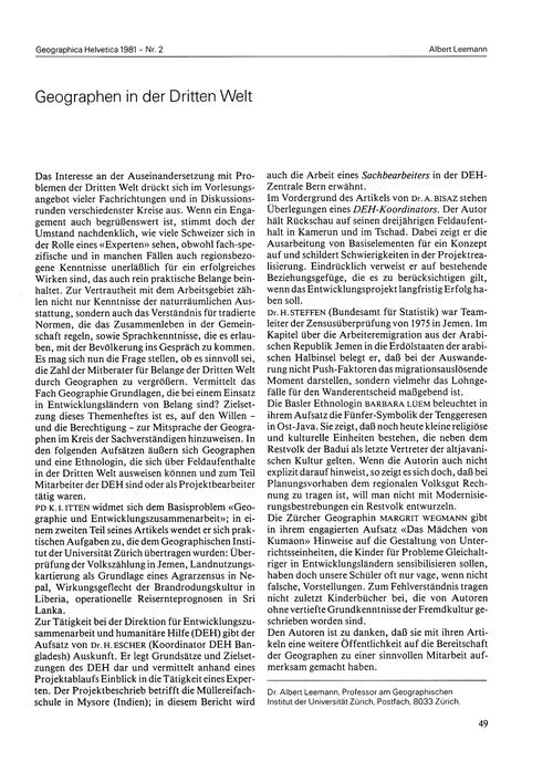 Geographen in Der Dritten Welt : Volume ... by Leemann, A.