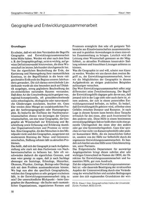 Geographie Und Entwicklungszusammenarbei... by Itten, K. I.