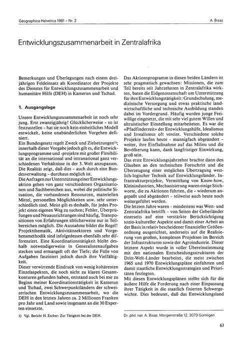 Entwicklungszusammenarbeit in Zentralafr... by Bisaz, A.