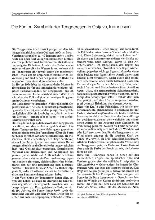 Die Fünfer-symbolik Der Tenggeresen in O... by Lüem, B.